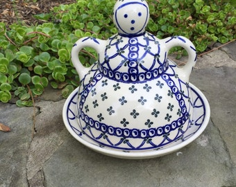 Boleslawiec hand made in poland lady dome cheese butter dish