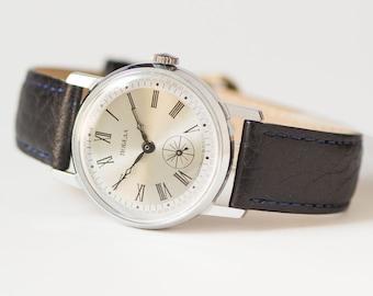 Minimalist men's watch Pobeda, silver shiny shades men's watch, dress wristwatch, wind up mens watch 80s gift, premium leather strap new