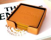 GLENLIVET Coaster Set - 4 Embossed Coasters - Camel Leather - Vintage Bar Accessories