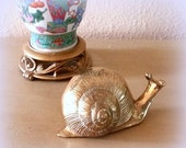 HEART SALE Solid Brass Snail - Retro and Just Plain Cute