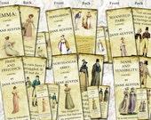 Six Double-sided Jane Austen bookmarks digital collage sheet. DIGITAL DOWNLOAD All 6 novels