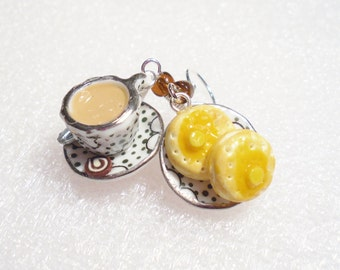 Tea And Crumpets Earrings. Polymer clay.