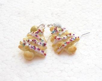 Christmas Tree Cookie Earrings. Polymer Clay.