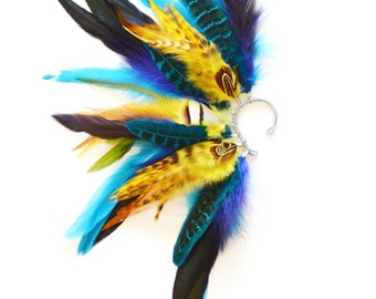Feather Ear Cuff, Feather Ear Wrap, Ear Cuff, Feather Earrings, Festival Earrings