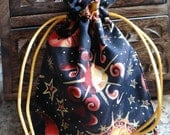 CELESTIAL GOLD & CRANBERRY Handmade Drawstring Bag Pouch for Tarot, Mojo, Runes, Trinket, Gift Bag Wiccan Pagan Gift