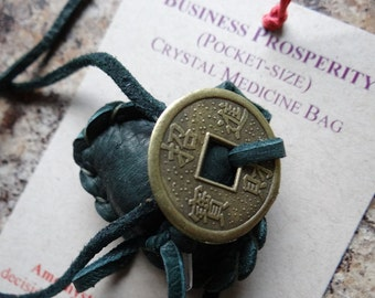 Business Prosperity Handmade Pocket Size Crystal Mojo Medicine Bag