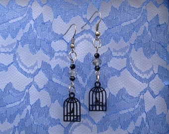 Bird in Birdcage Dangle Earrings