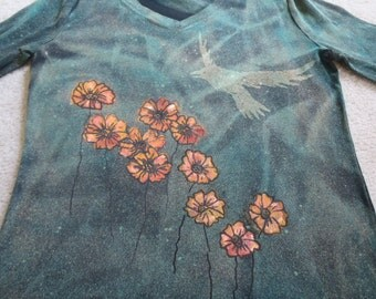 Orange cosmos, bird flying overhead, woman's medium v-neck,long sleeve, discharged, dyed & silk screened, small for size, check measurements