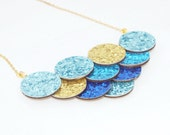 Glitter Mermaid Necklace - Blue Mermaid Scale Bib Necklace - Mermaid Jewelry - Statement Necklace - Geometric Necklace - Geometric Jewelry