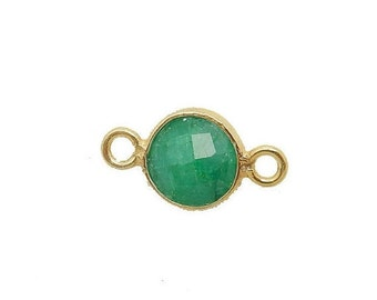 12% off Wholesale Dyed Emerald Station Round Connector - 6mm Gold Over Sterling Silver Bezel Charm Double Bail Pendant (S86B7-09)