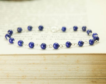 Lapis Lazuli Gemstone Bracelet - Sterling Silver Wire Wrapped Blue Simple Delicate - Intuition, Dreams, Protection, Healing