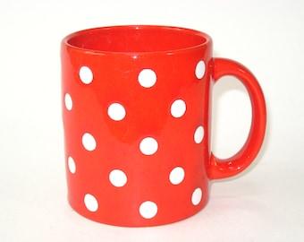 Vintage Waechtersbach W. Germany Red w/ White Polka Dots Ceramic Coffee Mug