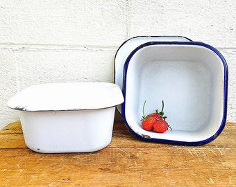Enamel REFRIGERATOR BOXES | c.1930s Vintage White and Navy Blue Enamelware Medical Storage Boxes | Pair of Two Larger Metal Fridge Dishes