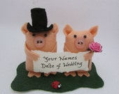 Pig wedding Cake Topper - Bride and Groom Pig - Wedding Pigs - FULLY CUSTOMISABLE