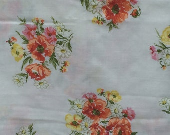 Vintage, sheet, flat, full, double, blue, yellow, red, orange, white, and pink flowers, floral, double, full, bedding Marvel Aire springmaid