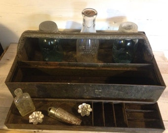 Vintage tool box, steel box, tool caddy