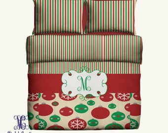 CHRISTMAS Personalized Duvet Cover or Comforter with Pillow Covers