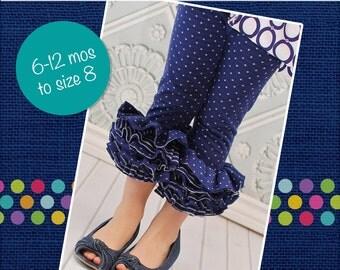 Eloise's Knit Ruffle Leggings PDF Pattern Sizes 6-12m to 8 girls