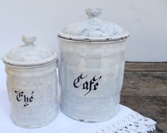 Vintage French Enamel Canisters Pair Coffee Tea Blue Granite Ware Enamelware Cafe The