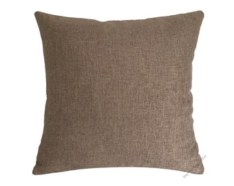 Tan Brown Cosmo Linen Decorative Throw Pillow Cover / Pillow Case / Cushion Cover / 18x18""