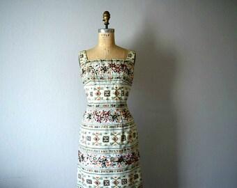 Vintage 1960s sequined dress . 50s 60s striped floral dress
