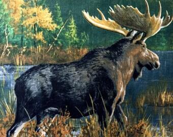 Items Similar To Fleece Fabric Panels Wildlife Moose