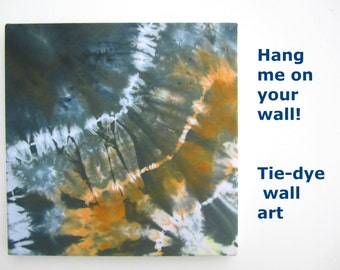 Tie Dye Decor, Original Wall Textile Art, Cloud Themed, Gallery Wrapped, Orange and Gray