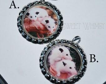 Leucistic opossum bottlecap pendant
