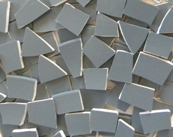 Charcoal Gray - Solid Color Mosaic Tiles - Recycled Plates - 100 Tiles