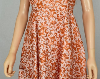 Vintage 1950's Women's Orange Metallic Brocade Floral Embroidered Formal Couture Party Dress Size S / XS
