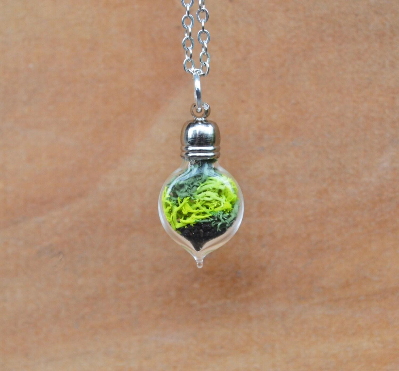 moss necklace plant necklace terrarium necklace moss
