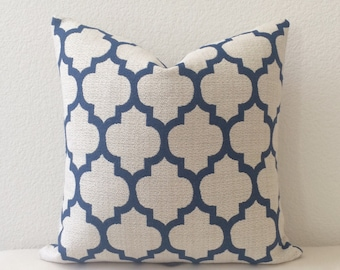 Navy and beige moroccan quatrefoil decorative throw pillow cover