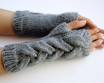 arm warmers wrist warmers hand knitted mittens fingerless gloves grey cabled merino wool customisable