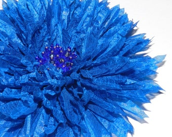 Chrysanthemum, dahlia flower, Fabric flower chrysanthemum, dahlia, Flower brooch of natural silk, Gift for her, Party accessory, blue brooch