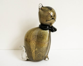 Venetian Glass Cat Made in Italy - Gold and Black - Art Glass Cat Sculpture - Mid Century Modern Cat - Elegant Fall Decor - Unique Gift
