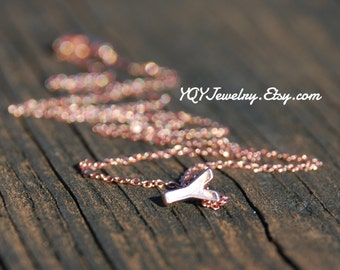 Mini Letter, Rose Gold plated, Pendant Necklace, Initial, Personalized, Customized, Jewelry, Teacher, Bridesmaids, Christmas, Mom