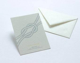 Letterpress Knot Postcard - Reef Knot.