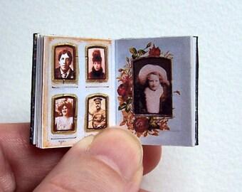 Dolls' House Miniature Book - Photograph Album (leather bound)