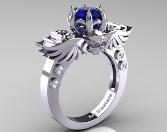 Art Masters Classic Winged Skull 14K White Gold 1.0 Ct Natural Blue Sapphire Diamond Solitaire Engagement Ring R613-14KWGDNBS