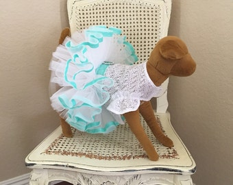 Dreamy Tulle Dog Dress, White and Robins Egg Blue