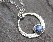 Kyanite pendant necklace, sterling silver necklace, bezel set, kyanite, gemstone necklace, necklace,  blue, hammered texture