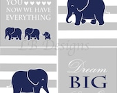 Elephant Nursery Prints, Elephant Nursery Decor, Navy Blue and Gray Nursery, Jungle Nursery Art - 8x10s