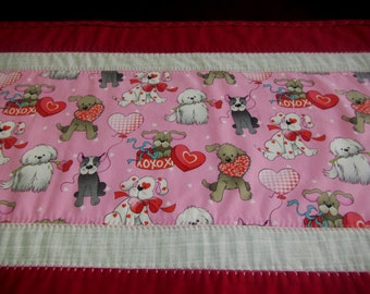 """Handmade Modern Quilted Table Runner 16.5"""" x  46.5"""" Valentines and Puppies"""