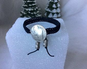 Bracelet,Buffalo Nickel Bracelet, Woven Black Bracelet, Handmade Woven Bracelet