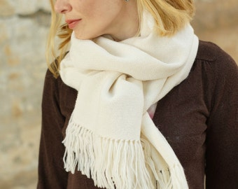 White hand Woven scarf women wrap pashmina scarf  gift for her MADE TO ORDER