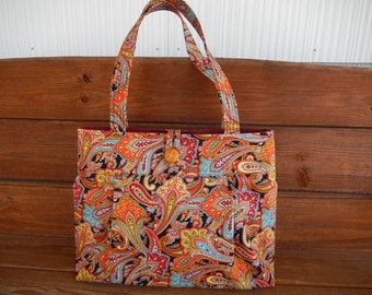 Handbag Purse Fabric Bag Accessories Women Handbag Pleated Bag Large Shoulder Bag in Black with Orange, Gold Paisley Print