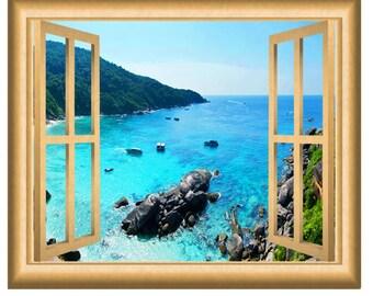 Ocean Cliff Mountain View Window Frame Wall Decal Mural VWAQ-NW1