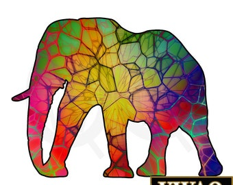 Animal Wall Art Elephant Stained Glass Pattern African Safari Elephant Vinyl Wall Decal Animal Home Decor Peel And Stick Sticker VWAQ-PA8