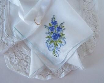Wedding Handkerchief Something Blue Winter Pansies Bridal Hanky