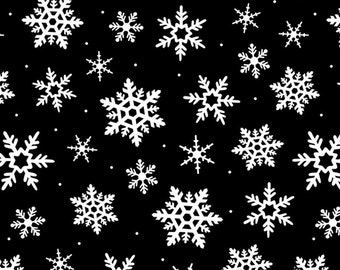 Snowflakes by David Textiles Polar Fleece Fabric by the yard